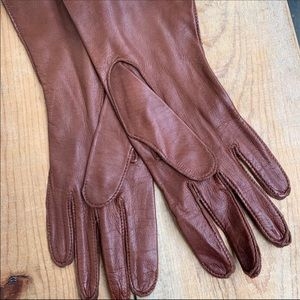 Vintage Brown Soft Leather Gloves Size 6 1/2